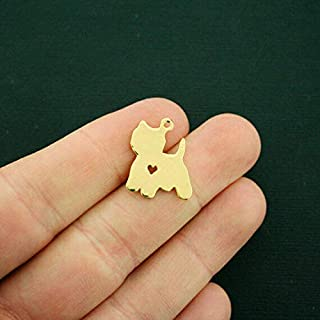 Pendant Jewelry Making for Bracelets and Chains 2 Dog Charms Gold Tone Westie Dog Breed 2 Sided Heart Cutout - GC1101