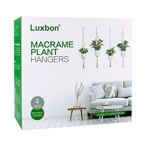 Luxbon 4er Set Makramee Blumenampel Baumwollseil Hängeampel Blumentopf Pflanzen Halter Aufhänger für Innen Außen Decken Balkone Wanddekoration – 41 Zoll, 4 Beine - 3