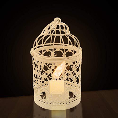 Kerzenhalter | Vogelkäfig, weiß - 2