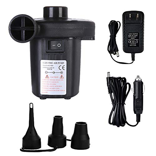 Electric Air Pump for Inflatables, Quick-Fill Inflator & 3 Nozzles Adapters, Dual Powered Car DC12V & Home AC100-240V Portable Inflates/Deflates Pump, Best for Camping Swimming (Not Rechargeable)