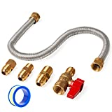 GASPRO One-Stop Universal Gas Appliance Hook-Up Kit - Gas Ball Valve and Flexible Connector for Gas Logs, Unvented Wall Mount heaters and Garage Heaters