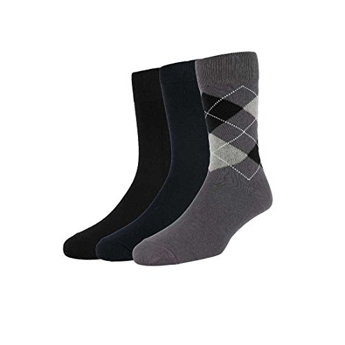 Peter England Men's Cotton Socks (Black/Navy Blue/Grey, Free Size)-Pack of 3
