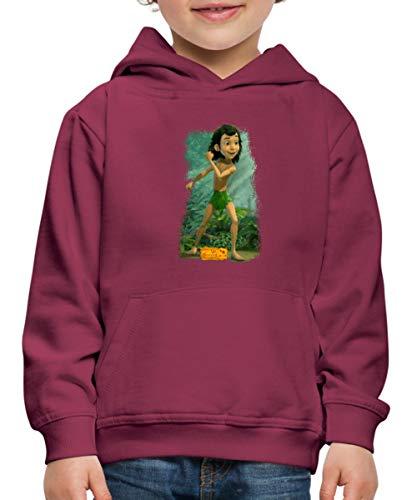 Spreadshirt Das Dschungelbuch Mogli Kinder Premium Hoodie, 134-146, Bordeaux