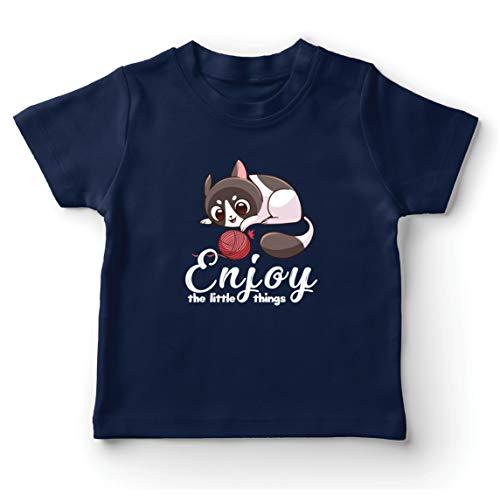 lepni.me Camiseta para Niño/Niña Disfruta de Las pequeñas Cosas Lindo Gatito Cita Positiva (9-11 Years Azul Oscuro Multicolor)