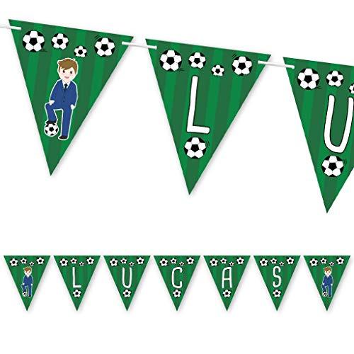 Guirnalda Primera Comunión fútbol niño con traje azul. Guirnalda decorativa con nombre.