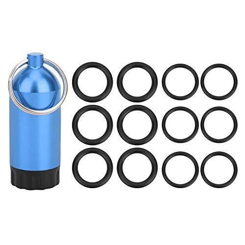 Tenpac Cilindro de Buceo O Rings, Compacto y portátil Práctico Cilindro de Buceo Botella de Almacenamiento con 12 X O Ring para Buzo para la mayoría de válvulas de Cilindro(Blue)
