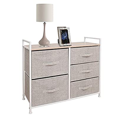East Loft Storage Cube Dresser Organizer for Closet, Nursery, Bathroom, Laundry or Bedroom 5 Fabric Drawers, Solid Wood Top, Durable Steel Frame Natural