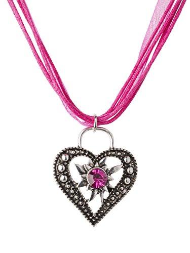 Trachtenkette Wiesnstein eleganter Herz Anhänger mit Strass - viele Farben - Trachtenschmuck Kette für Dirndl und Lederhose (pink)