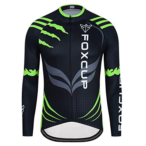 Maillot Ciclismo Hombre Camiseta Ciclismo Manga Larga con BolsilloMaillot Ciclismo HombresManga Largo Forro Anti-Viento Invierno/Otoño/Primavera/ (Green,L)