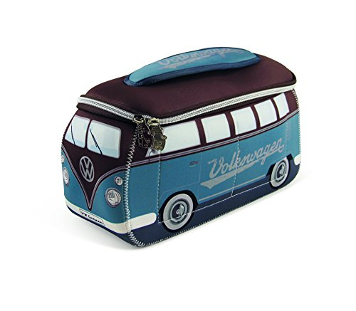 VW Collection by BRISA Kulturbeutel Universaltasche im VW Bus T1 Design aus Neopren, 30 x 14 x 12 cm, Petrol/Braun