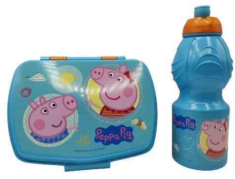 CM Pack 2pcs Botella de Agua plastico Infantil 400ml- Fiambrera sandwicheras para niños, cantimplora a Prueba de Fugas sin BPA (Celeste-Pig)