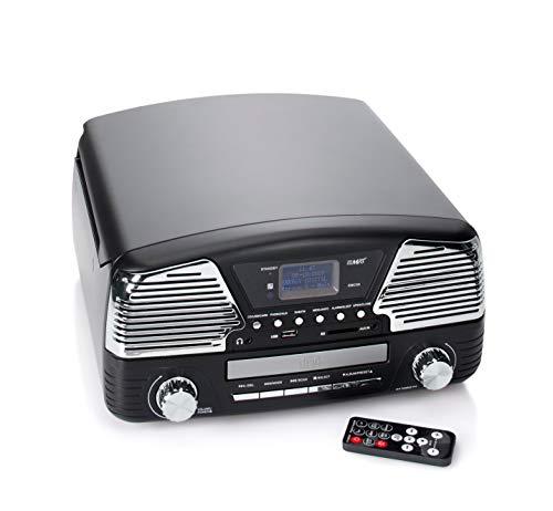 CD-DAB+ Plattenspieler mit Radio MP3 USB SD AUX Fernbedienung - Nostalgie-Plattenspieler mit modernster Technik - mit Encoding