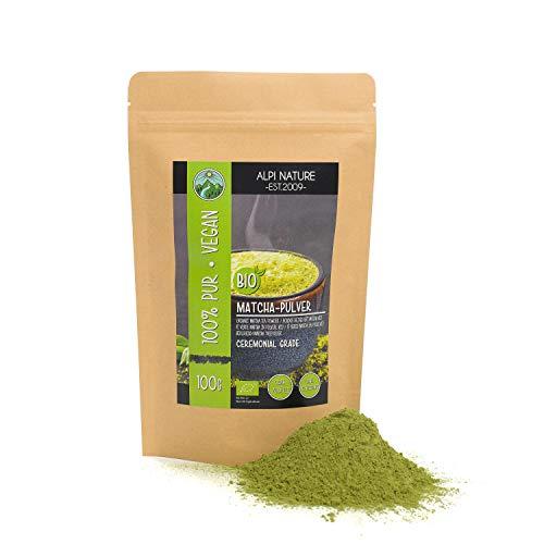BIO Matcha Pulver (100g), Grüntee Ceremonial Grade, Matcha Tee Pulver aus kontrolliert biologischem Anbau glutenfrei, laktosefrei, laborgeprüft, vegan