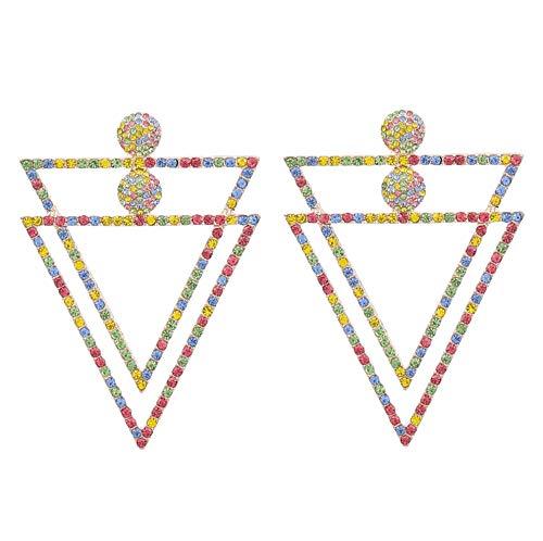 Vvff Pendientes De Diamantes De Imitación De Metal Triangulares De Doble Capa, Pendientes De Gota Exagerados Populares Para Mujeres, Accesorios De Joyería Para Fiestas