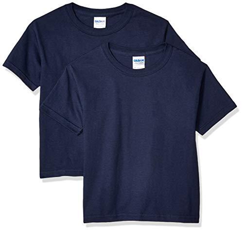 Gildan unisex child Ultra Cotton Youth T-shirt, 2-pack T Shirt, Navy, Large US