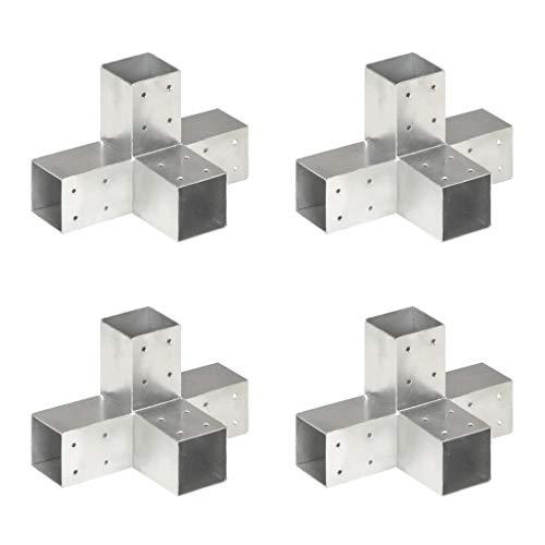 WooDlan Conectores de Postes en X 4 uds Metal galvanizado ,71x71 mm