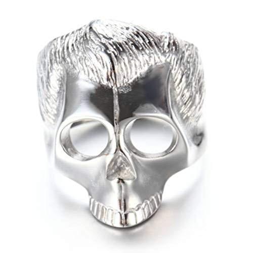 WOZUIMEI Anillos Punk de Acero Inoxidable para Hombre Anillo de Acero Inoxidable Anillo de Hombre Punk Skull Anillo de Acero de TitanioPlata, 19.1
