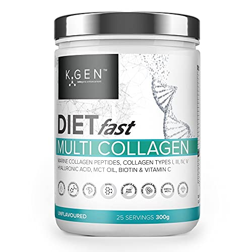 K-GEN DIETfast Collagen with Hyaluronic Acid, MCT's & Vitamin C | Advanced Diet Multi Collagen Peptides Powder for Weight Loss, Hair, Skin, Nails, Gut, Wrinkles, Immune & Health