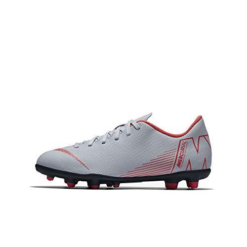 Nike Jr Vapor 12 Club GS Fg/MG, Scarpe da Calcetto Indoor Unisex-Bambini, Multicolore (Wolf Grey/Lt Crimson/Black 060), 33 EU