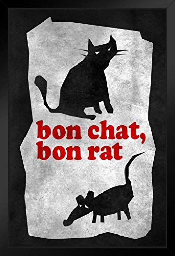 Bon Chat Bon Rat Tit for Tat Vintage Illustration Cat Poster Funny Wall Posters Kitten Posters for Wall Funny Cat Poster Inspirational Cat Poster No Glare Wood Eco Framed 9x13