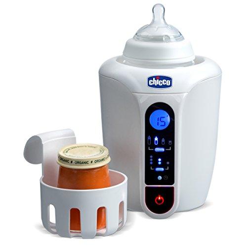 Chicco Digitaler Flaschenwärmer, Baby Kostwärmer und Flaschenwärmer für Neugeborene mit 12 Programmen, Optimale Temperatur, Timer- und Auftau-Funktion, Auch für Gläschen geeignet - Weiß