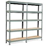 Tangkula 5-Tier Storage Shelves, Heavy Duty Steel Frame Muscle Rack 60in Garage Shelf with Adjustable Shelves, Boltless Shelving Unit for Free Combination, Metal Utility Shelves (2, Grey)
