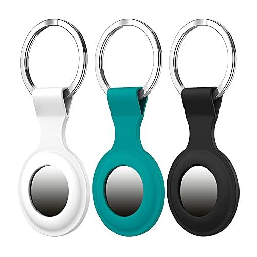 GC 3 protectores de silicona prémium compatible con llavero Apple Airtag para rastrear perros, alarma de seguridad para niños, bolsa de seguimiento de accesorios (blanco, azul petróleo, negro)