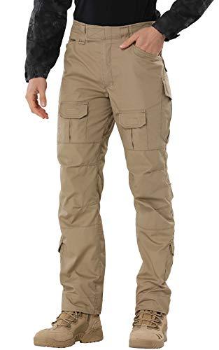 SIGAWN - Pantalones militares para hombre, pantalones tácticos con múltiples bolsillos para hombre, Caqui, 32