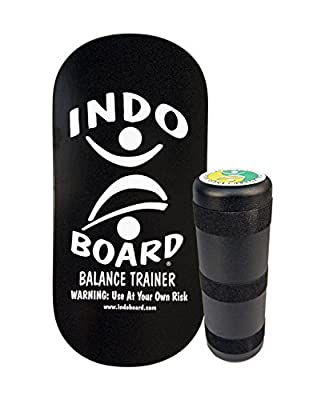 """INDO BOARD Rocker Balance Board with Roller - Black and Silver - Balance Board for Fitness, Sports Training and Advanced Tricks - 33"""" X 16"""" Non-Slip Wooden Deck and a 6.5"""" Roller"""