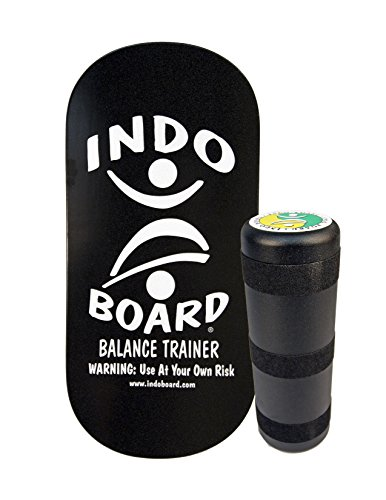 INDO BOARD Rocker Balance Board with Roller - Black and Silver - Balance Board for Fitness, Sports Training and Advanced Tricks - 33' X 16' Non-Slip Wooden Deck and a 6.5' Roller