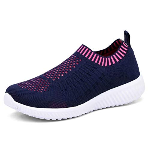 konhill Women's Lightweight Casual Walking Athletic Shoes Breathable Mesh Running Slip-On Sneakers 5 US Navy,35