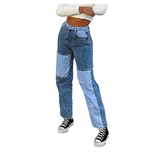 QUNLING Damen Patchwork Jeans, Sexy Slim Hose Jeans mit hoher Taille, Jeanshose Slim Fit Ganzkörperhose mit lässiger, gerader, hoher Taille