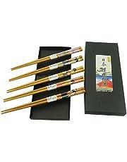 Wbeng Juego de 5 Pares de Palillos y Palillos, Soporte para Palillos de Gato de la Suerte, 5 Gatos, Palillos Reutilizables Naturales de bambú de Estilo japonés clásico, Apto para lavavajillas