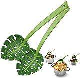 2PCS di categoria Alimentare scanalato cucina Cucchiaio di spaghetti tagliatelle Mestolo Cucchiaio, Foglia Verde, Colino cucchiaio foglia indietro tartaruga, cucchiaio tagliatella, Colino cucchiaio