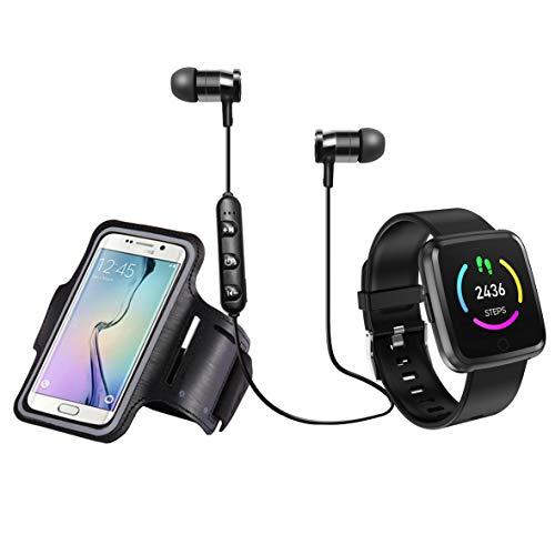 Blaupunkt BLP1560 Pack Aktivitätsuhr mit GPS Kopfhörer Bluetooth und Armband für Handy, Blutsauerstoff, Herzfrequenzmesser, Schlafüberwachung