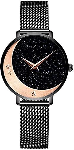 QHG Relojes de Cuarzo para Las Mujeres en 3D Grabado Luna Estrella Reloj de Pulsera Impermeable Starry Sky Reloj con Banda de Acero Inoxidable (Color : Black)