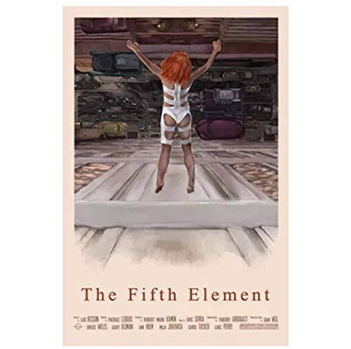 Fifth Element Classic Sci-Fi Movie Bruce Willis Wall Art Poster e impresión de lienzo Pintor Decoración -60x80cm Sin marco