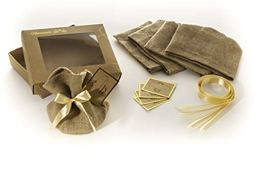 Gift Box: 5 Rustic Jute Burlap Bags, Golden Ribbons and Paper Cards for Personal Message, DIY Kit for Personalized Gifts. Small Gift Bags for Big Gift Ideas. Or Just Beautiful Gift Box As Gift.