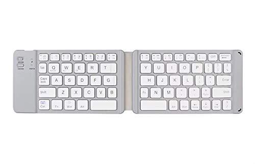 Bluetooth Folding Keyboard, 2,4 g Stärke 15 mm drahtlose drahtlose Bluetooth Tastatur mit Lithium-Akku, Telefon Geeignet for Ios/Android/Windows Tablet (Color : White)