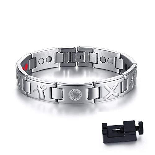 PicZhiwenture Armb?nder Armband Herren Golfschl?ger und Ball Marker Magnetfeldtherapie Armband Edelstahl 4 IN 1 Bio Elements Energie Armreif M?nnlichen Schmuck SBRM 126SCDQ21,5 cm