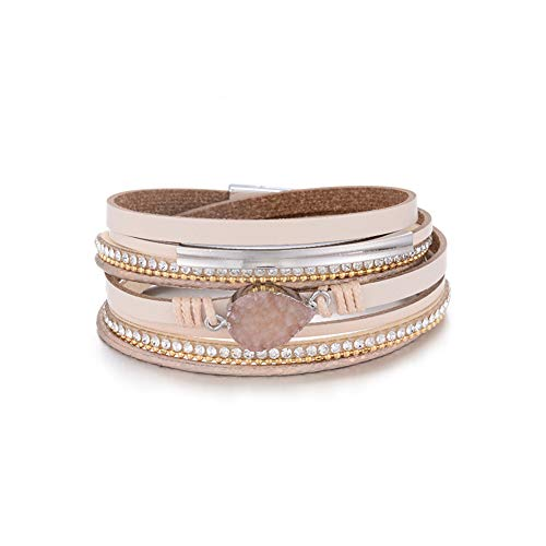 Multilayer Leather Bracelet Handmade Crystal Wrap Bangle with Magnetic Clasp Leather Wrap Bracelet Bohemian Jewelry Gift for Women and Girl (beige leather&natural stone)