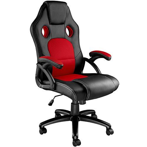 UNDRANDED Gaming Racing Chair Adjustable Swivel High-Back Office Chair with Armrest PU Leather & Mesh Computer Desk Essentials Chair (Red)