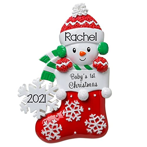 2021 Personalized Ornament Baby's First Christmas Gender Neutral Snowbaby in Stocking with Snowflake Christmas Tree Ornament Handwritten Customized Decoration-Free Personalization (Red-Green)
