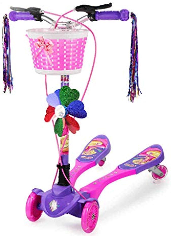 GYY SHOP Babyreisewerkzeug Kinderroller Jungenmdchenkarikatur, die Roller das Vierrad-Fahrrad der Kinder Tritt (Farbe   lila, Größe   82CM24CM87CM)