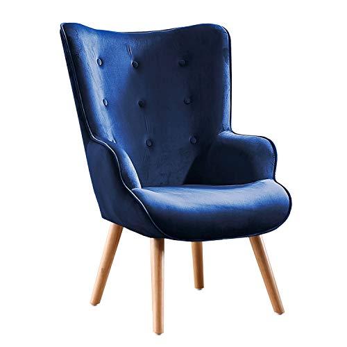 Adec Group Voss, Sillon de Diseño, Butaca de Espera Fija, Patas Nórdicas en Madera Color Haya, Descalzadora Tapizada en Color Velvet Azul, Medidas: 71 cm (Ancho) x 95 cm (Alto) x 75 cm (Fondo)