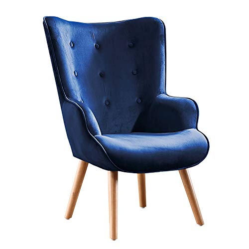 Adec - Voss, Sillon de diseño, butaca de Espera Fija, Patas nórdicas en Madera Color Haya, descalzadora tapizada en Color Velvet Azul, Medidas: 71 cm (Ancho) x 95 cm (Alto) x 75 cm (Fondo)