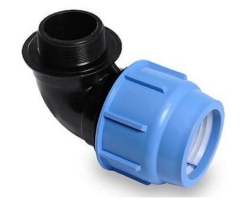'PP angle de connecteur de serrage pour tuyaux en PE 25 mm x 1 filetage extérieur