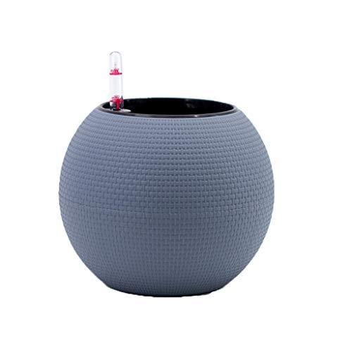 ADAHX Pot de Fleur, Pot de Fleur de résine, Automatique d'eau-Absorbant l'imitation rotin Grand Pot Rond de Fleur, approprié à l'intérieur Pot de Fleur sphérique Vert (excluant des usines),Gray