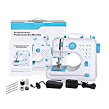 BTY Sewing Machines, Mini Portable Electric Heavy Duty Industrial Machines with Foot Pedal Double Thread 12 Built-in Stitches Lightweight Beginner Sewing Machine, Blue