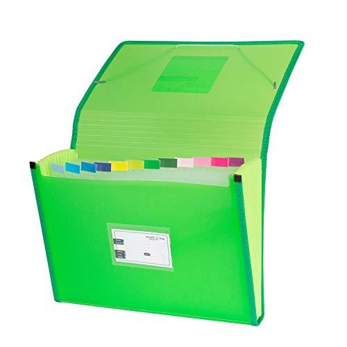 Grafoplás 02963020-Carpeta separadora con fuelle, tamaño folio, color verde